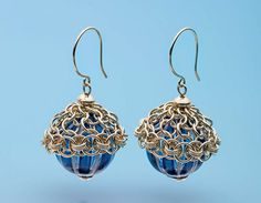 Kylie Jones's Venetian glass earrings with chain maille bead caps - from 6 Chain Maille Jewelry-Making Tips, Plus Leather & Chain Maille Combine in One Cool Cuff