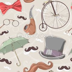 mustache pictures | Retro seamless pattern with vintage objects — Imagens vectoriais em ...