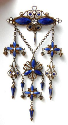 ANTIQUE FRENCH BLUE ENAMEL LONG CHANDELIER RARE BROOCH Circa 1850