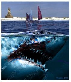 Jaws 2 Art By Federico Alain Jaws 2, Jaws Movie, Hai Tattoo, All About Sharks, Le Kraken, Cthulhu, Megalodon Shark, Shark Art, Classic Monsters