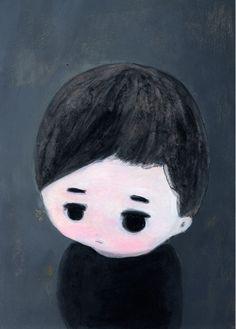 Portrait of A Little Boy - Painting by Kentaro Minoura