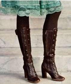 LOVE the boots and the brown with the blue.