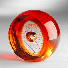 Pavel Havelka-Fusion Art Glass Object - Red - Round