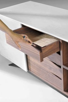 Contemporary sideboard / marble / in wood / white - TRIGONO by Fábio Teixeira & Sérgio Costa - TCC Whitestone - Videos