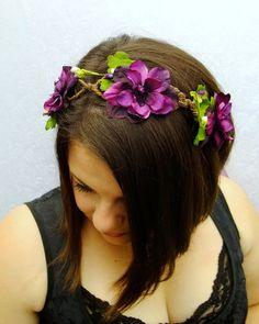 Plum Purple Delphinium Woven Vine Circlet, Woven Vine and Dark Purple Headband, Woodland Head Piece, Woodland Wedding. $35,00, via Etsy.