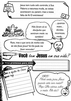 É muito importante que a criança tenha momentos diários com Deus, para que ela entenda que o Senhor Tem que fazer parte da sua vida em todos... Portuguese Language, Bible, Bullet Journal, Sunday School Games, Sunday School Lessons, Kids Study, Note Cards, School, Hipster Stuff