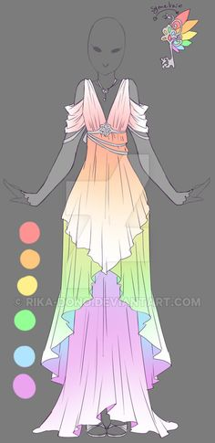 Rainbow Angel - Outfit Design by rika-dono; I do not own this, it's on my dnd bored for character design inspiration Dress Drawing, Drawing Clothes, Fashion Design Drawings, Fashion Sketches, Angel Outfit, Anime Dress, Dress Sketches, Fantasy Dress, Character Outfits