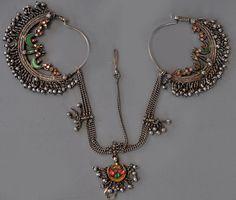 Silver headdress earring set , glass inlaid Uttar Pradesh India lt c (inventory for sale Singkiang) India Jewelry, Tribal Jewelry, Gemstone Jewelry, Jewellery Box, Silver Earrings, Silver Jewelry, Vintage Jewelry, Unique Jewelry, 925 Silver