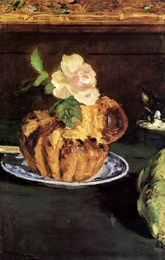 édouard manet -- nature morte avec brioche -- -- oil on canvas -- private collection Pierre Auguste Renoir, Painting Still Life, Still Life Art, Édouard Vuillard, Vincent Van Gogh, Edouard Manet Paintings, Henri Fantin Latour, Pot Pourri, Berthe Morisot