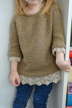 Lacy Day (Baby/Child) pattern by Caitlin Shepherd - Ravelry: Lacy Day pattern by Caitlin Shepherd - Baby Sweater Knitting Pattern, Baby Knitting Patterns, Baby Patterns, Diy Knitting Projects, Kids Clothes Organization, Ravelry, Knitting For Kids, Girls Sweaters, Clothing Patterns