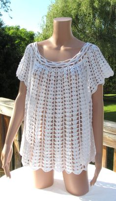 Crocheted White Cotton Smock top loose top 52 by Renaixcrochet, $85.00