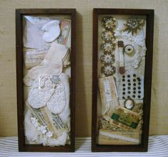 Vintage Items Shadowboxes: Baby(left) Sewing(right)