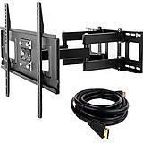 Sunyear TV Wall Mount Bracket Full Motion Swivel Articulate Arms for 32 to 65 Inch LED LCD Plasma Flat Screen TVs Compatible with VESA 500x400mm Load Capacity 88lbs with HDMI Cable: Home Audio & Theater