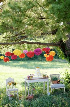 Katey Collection- 5 Pom Poms- Mexican fiesta hanging decorations/ wedding decorations/ birthday party decorations. $21.00, via Etsy.