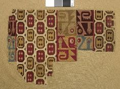 Huari textile fragment; possibly part of a sleeved tunic; camelid tapestry weave; design is structured in columns with main field featuring oblong...