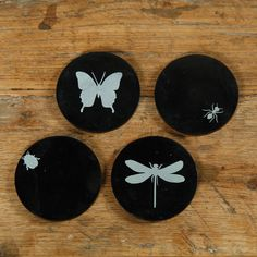 Wings and Legs Soapstone Coasters - Set of 4 Garden Insects, Soapstone, Dot And Bo, Hobbies And Crafts, Coaster Set, New Tattoos, Modern Furniture, Wings, Dragon Flies