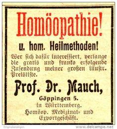 Original-Werbung/Anzeige 1906 - HOMÖOPATHIE / DR. MAUCH GÖPPINGEN - ca. 40 x 45 mm