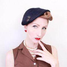 1950s Hat / VINTAGE / 50s Hat / Navy Blue / Sequins / Knit Hat / Beret style / Sculpted