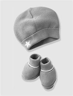Gorro e pantufas em algodão, Coleção Bio, para bebé primavera-verão 2015