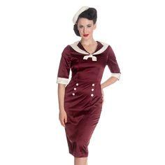 Hell Bunny 50s Sandra Dee Satin Sailor Wiggle Dress