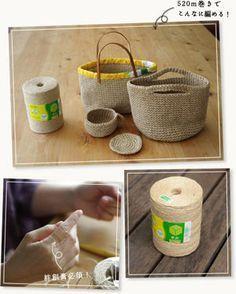 麻ひもバッグの編み方・麻ひもバッグの作り方まとめ・手作り麻ひもバッグの編み方 Handmade Bags, Handmade Crafts, Diy And Crafts, Crochet Doilies, Knit Crochet, Knitting Patterns, Crochet Patterns, Jute Bags, Wrist Warmers