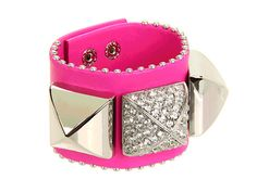 Shop for Perfectly Gifted Pave Pyramid Leather Cuff Bracelet (Bright Cerise) - Jewelry by Juicy Couture at ShopStyle. Leather Cuffs, Soft Leather, Fashion Bracelets, Jewelry Bracelets, Juicy Couture Jewelry, Crystals, Silver, Gifts, Accessories