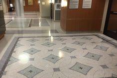 Terrazzo Floor Pattern for Hospital Entrance using TERRAZZCO EZPour Epoxy 158 #terrazzo #epoxyresin #healthcarearchitecture Hospital Architecture, Healthcare Architecture, Terrazzo Flooring, Floor Patterns, Epoxy, Tile Floor, Entrance, Health Care, Blog