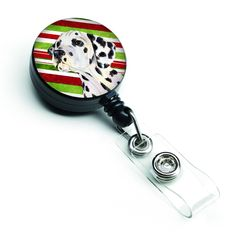 Dalmatian Candy Cane Holiday Christmas Retractable Badge Reel SS4561BR