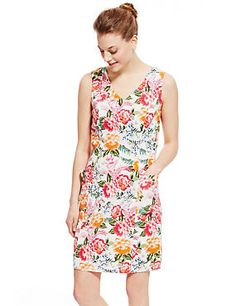 White Mix Linen Blend Floral Shift Dress