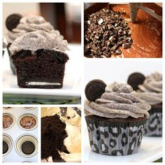 Oreo Cupcakes - OMG these cupcakes are amazing the frosting is amazing! The oreo at the bottom adds to the chocolatey oreo goodness that is these cupcakes. These cupcakes are what love tastes like. Oreo Cupcakes, Yummy Cupcakes, Cupcake Cakes, Gourmet Cupcakes, Strawberry Cupcakes, Easter Cupcakes, Velvet Cupcakes, Flower Cupcakes, Christmas Cupcakes