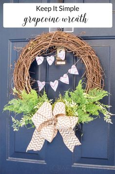 Easy Spring Tulip Wreath - Use silk flowers burlap a wood banner and your Silhouette Machine to create a gorgeous and unique wreath for your front door. It's so easy and the perfect 20 minute craft to DIY! Valentine Day Wreaths, Valentine Day Crafts, Holiday Crafts, Spring Crafts, Valentine Stuff, Christmas Wreaths, Diy Wreath, Grapevine Wreath, Wreath Ideas