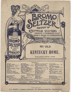 "1925 sheet music sponsored by ""Bromo Seltzer, cures headaches"" (Hoboken Historical Museum)"