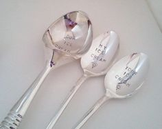 Ice cream spoons and scoop, my ice cream, unique wedding gift, shower gift, couples gift, hand stamped spoons, hostess gift on Etsy, $60.00