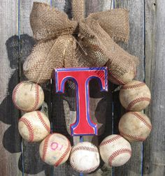 Burlap Baseball Love Wreath with Distressed Letter by 1BabyToes1 or any other type of boy sport toy...would be cut with hoy wheel cars