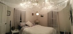 This is the ceiling of my bedroom. Its white Christmas string lights nailed to the ceiling in a sort of X shape. Then a white large mosquito net tucked into the nails and pinned at the corners of the room. There's a soft globe lamp on a hanging line through the middle