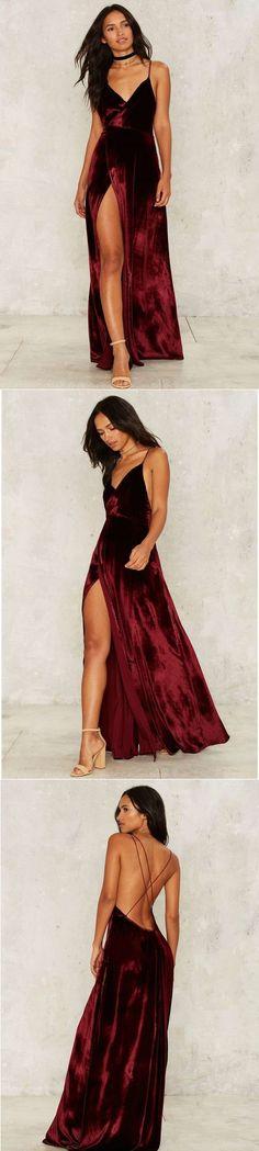 Modest Prom Dress,2017 New Prom Dress,Long Prom Dresses,Burgundy Evening Dress,Sexy Spaghetti Straps Slit Evening Dress by DestinyDress, $177.39 USD #longpromdresses