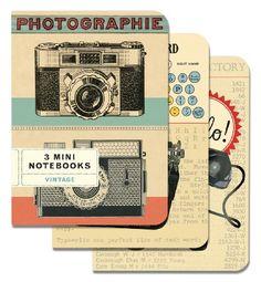 Cavallini - Set of 3 Mini Notebooks - Vintage - Lined, Blank & Graph Interiors