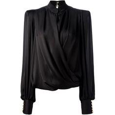 BALMAIN sculpted shoulder blouse ($1,896) ❤ liked on Polyvore featuring tops, blouses, shirts, balmain, silk shirt, shirts & blouses, silk blouses, black blouse and long sleeve silk shirt