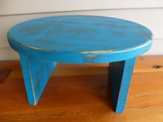 Teal Distressed Wood Foot Stool ChildSize Time by TreasuresOnTheGo, $28.00