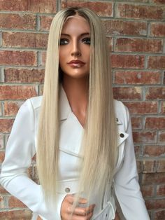 """Ash blonde Full lace wig 24"""" Silk straight"""
