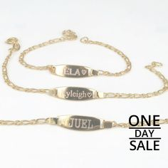 Today Only! 10% OFF this item.  Follow us on Pinterest to be the first to see our exciting Daily Deals. Today's Product: Christmas Personalized Gift Baby ID bracelet 14k Gold fill • Custom engraved Bar nameplate • Bridesmaids • Flower girls • Names • Any symbol Buy now: https://www.etsy.com/listing/469391199?utm_source=Pinterest&utm_medium=Orangetwig_Marketing&utm_campaign=Christmas%20Personalized%20Gift   #etsy #etsyseller #etsyshop #etsylove #etsyfinds #etsygifts #musthave #loveit…