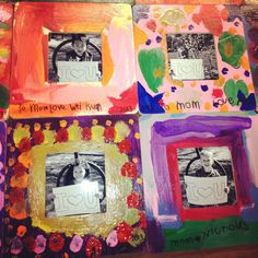 Kindie Mother's Day art! Wooden frame, acrylic paint, varnish, b and w picture :)