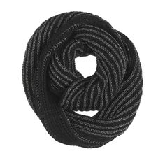 Silver and Black Striped Infinity Scarf - Ava Grace Fashions