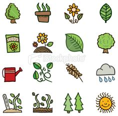 Plant and gardening doodles Royalty Free Stock Vector Art Illustration