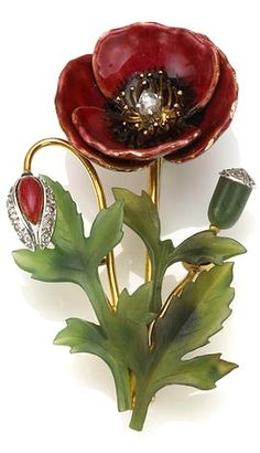 An Enamel, Nephrite, and Diamond Brooch in the Form of a Flower; Accompanied with Fitted Box; Mounted in 18 Karat Bi-Color Gold; Length: 2 1/4 In.
