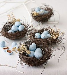 wouldn't it be lovely to have one of these darling little nests at each place setting at easter dinner?: