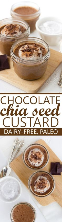 Chocolate Chia Seed Custard! A healthy, creamy breakfast treat! (Dairy-Free, Paleo, Gluten-Free)