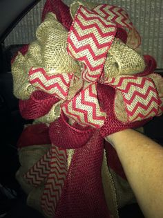 Burlap Tree Topper...burlap, red burlap & chevron burlap with streamers. $26.00 Made by Tammy Davis from Bows of Blessings