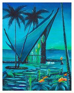 11 x 14 on archival paper, hand remarqued signed and dated, ships in a tube. Beautiful Artwork, Cool Artwork, Amazing Artwork, Tiki Art, Tiki Tiki, Retro Color Palette, Tiki Lounge, Vintage Tiki, Tiki Room