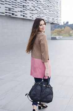 Loving this colour block suede coat! The perfect spring time outerwear